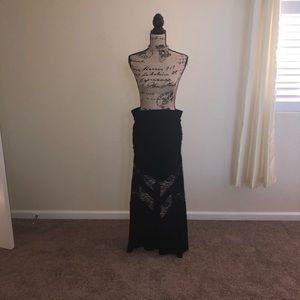 Black Torrid lace peak-a-boo maxi skirt